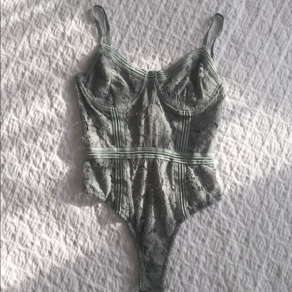 Missguided Tops - Sage Green Lace Bodysuit